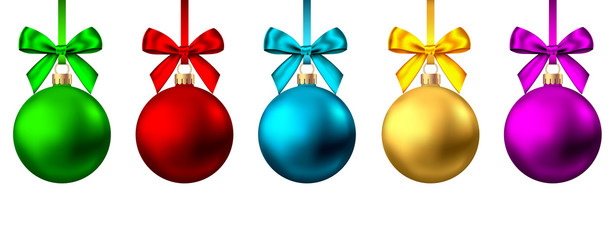 Fotomurales - Realistic  gold, red, blue, purple  Christmas  balls  with bow and ribbon.