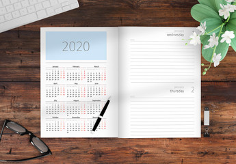 2020 Agenda Layout with Red Accents