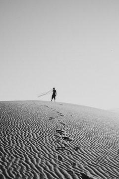 View of man in desert