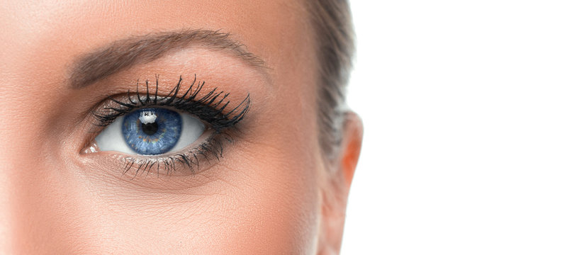 Close up photo of a woman's blue eye