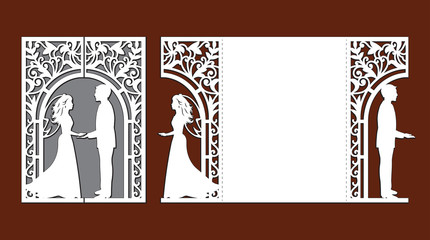 Laser cut template of wedding invitation card with bride and groom. Gate fold with openwork vector silhouette. Envelope for greeting postcard with lace decor arch. Panel with decorative design pattern