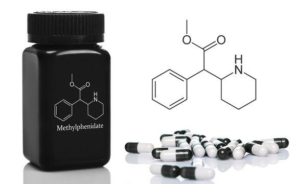 Plastic bottle with the methylphenidate pills