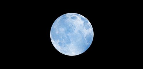 Wall Mural - Blue full moon against milky way galaxy