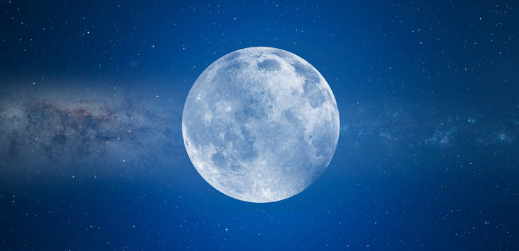 """Blue full moon against milky way galaxy """"Elements of this image furnished by NASA """""""