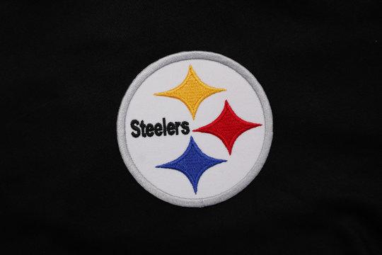 BANGKOK,THAILAND-JANUARY 28: Logo of  AFL Team Pittsburgh Steelers on Black Fabric