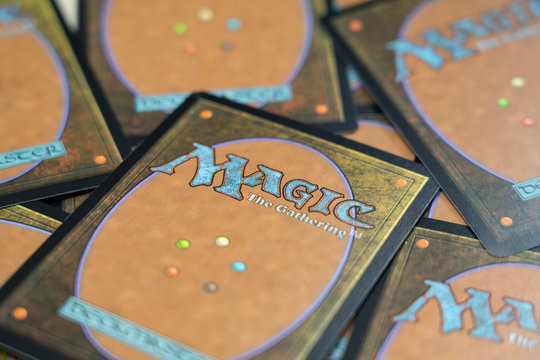BANGKOK,THAILAND-APRIL 17:The Back of the cards of game Magic: The Gathering on the Table