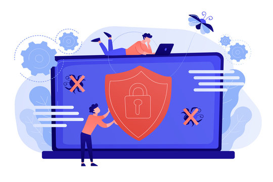 A man before laptop with shield and lock on the screen. Anti virus software, anti-malware, spyware, trojan, adware as internet security concept. Violet palette. Pink coral blue vector illustration on
