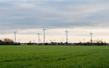 Wind turbines or windmills creating electricity from wind power on green field at sunset, Nordfriesland, Germany.