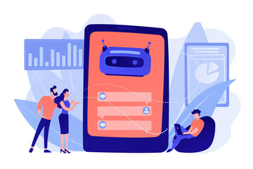 Wall Mural - Customers chat with chatbot on smartphone screen with speech bubbles. Customer service chatbot, e-commerce chatbot, self-service experience concept. Pinkish coral bluevector isolated illustration