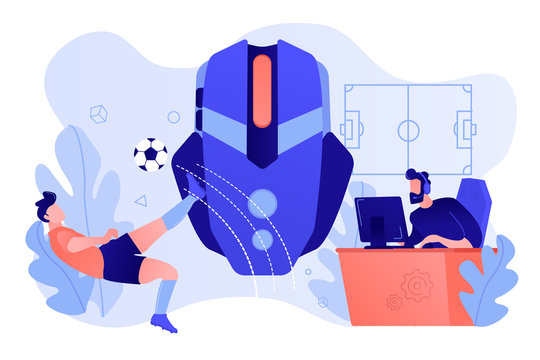 Gamer with headset at computer taking part in online footbal tournament. Sports games, online footbal tournament, e-game championship concept. Pinkish coral bluevector isolated illustration
