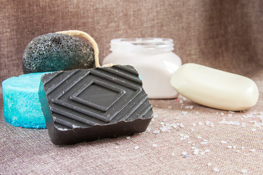 Black soap. Volcanic cosmetics. Facial and body cleansing product