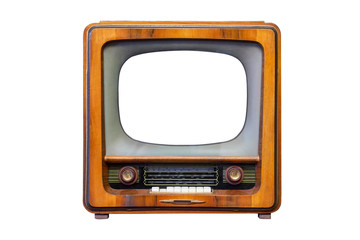 Retro tv with wooden case isolated on white background. Retro television - old vintage TV