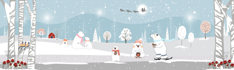 Winter landscape at night, Vector of winter wonderland, polar bear looking up at Santa Claus and Reindeers and drinking hot chocolate drinks celebreation on Christmas night.