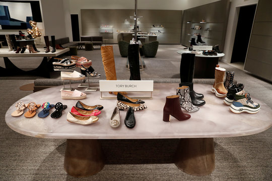 Designer Tory Burch shoes are seen on display at the Nordstrom flagship store during a media preview in New York