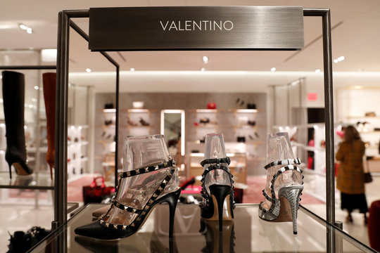 Designer Valentino shoes are seen on display at the Nordstrom flagship store is seen during a media preview in New York