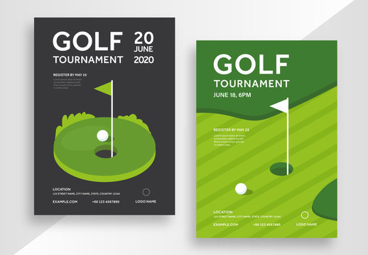 Golf Tournament Poster Layout Set with Illustrative Elements