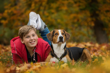 Young boy with his dog in autumn landscape