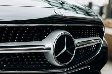Berlin, August 29, 2018: A close-up of the new black Mercedes-Benz SLC.