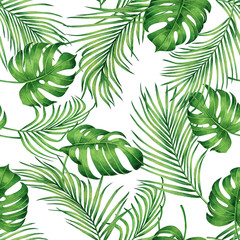 Watercolor painting monstera,coconut leaves seamless pattern with shadow on white background.Watercolor llustration palm,pink leaf,tree tropical exotic leaf for wallpaper textile vintage Hawaii style.