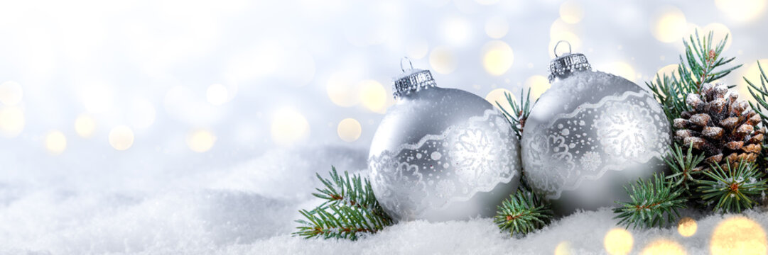 Silver Christmas Balls With Pine-cone And Branches On Snow With Golden Bokeh Background - Christmas/New Year