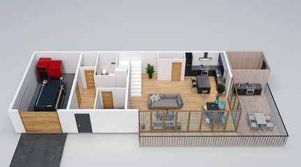 3d floorplan, isometric view of the house with garage, terrace, deck, outdoor kitchen and stairs to second floor, 3d Render, 3d Illustration