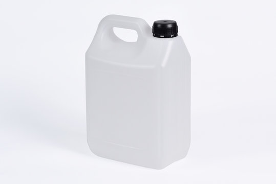 White plastic jerrycan on white background.