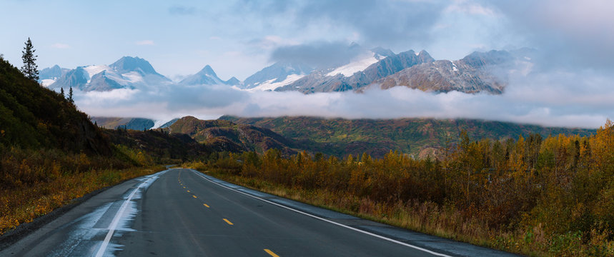 Panorama of road to Valdez surrounded by mountains in Alaska