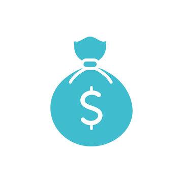 money bag business finance color silhouette