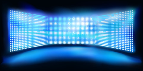 Big led projection screens. Light show on the stage. Blue abstract background. Vector illustration.