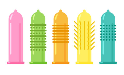 Vector condom icon. Contraception concept. Different forms and types of condoms isolated on white background.