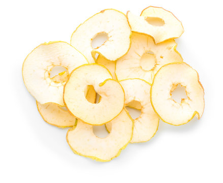 Tasty dried apples on white background