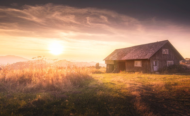 Foto op Canvas Grijze traf. house in sunset