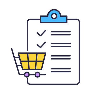 Shopping list color icon. Planning purchases in store. Adding products to trolley. Merchandise and consumerism. Checklist writing. Commerce and digital marketing. Isolated vector illustration