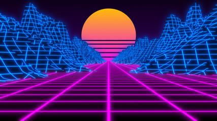 Synthwave wireframe 80s Retro Futurism vaporwave background - 3D illustration render
