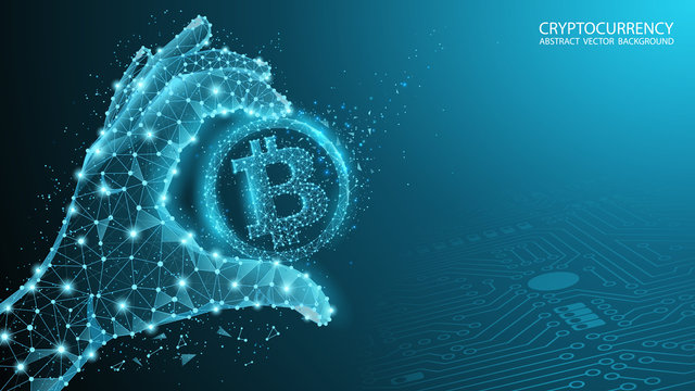 Blue abstract technology background. Vector. Polygonal human hand holds bitcoin. Electronic cryptocurrency and modern technology. Blockchain Low poly image. Internet banking and finance.