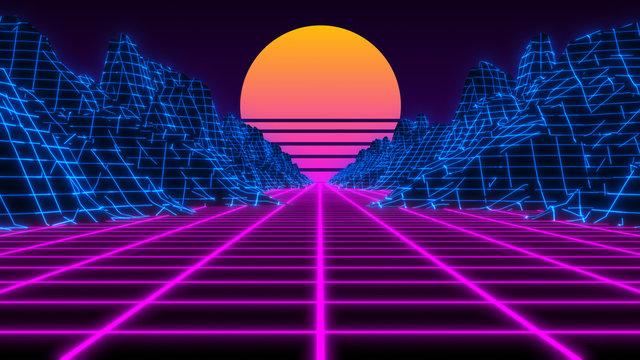 Vaporwave retro futuristic 80's synthwave landscape and sun background - 3D illustration render
