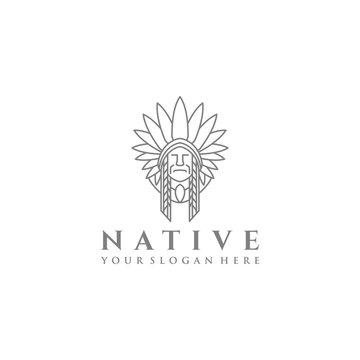 Line Native Skull American Man Logo Design Template Vector Illustration
