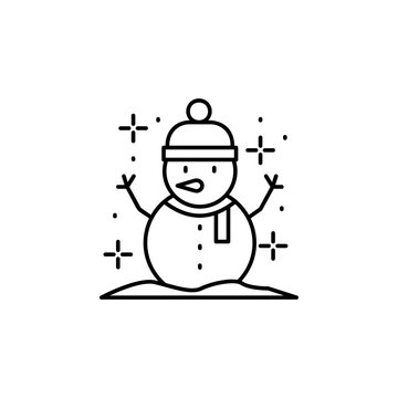 Snowman snow icon. Simple line, outline vector of winter vacation icons for ui and ux, website or mobile application
