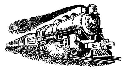 Steam Train, vintage illustration.