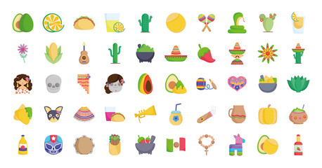 collection mexican food culture traditonal icons