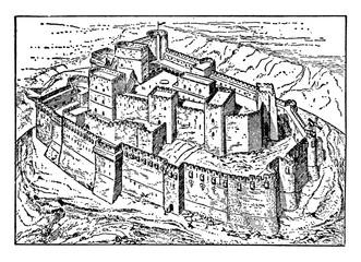Fototapeta Krak des Chevaliers, vintage illustration. obraz