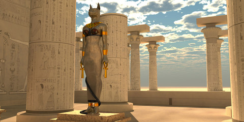 Egyptian God Bastet Statue - Bastet was an Egyptian goddess that was a lioness warrior and worshipped in the Old Kingdom.