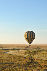 A striped hot air balloon floats above the plains of the Serengeti in Tanzani, Africa at sunrise; vertical image with copy space
