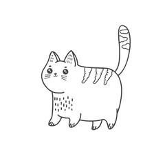 Papiers peints Le vous même Cute cat. Vector linear freehand illustration in doodle style.