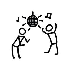 Dancing disco stick figure vector illustration. Hand drawn ux design nightclub stickman for communication journal clipart.