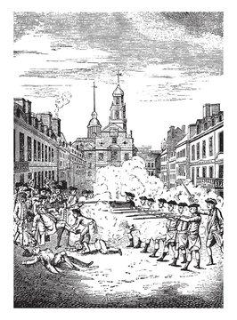 Boston Massacre,vintage illustration