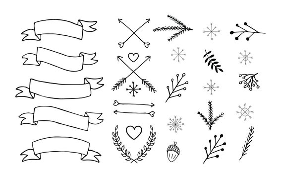Vector Set of hand drawn doodle winter Christmas elements,arrows,ribbons, symbols. Bundle of black doodle isolated on white background