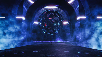 strange majestic abstract temple environment with glowing scary sphere hovering in the air