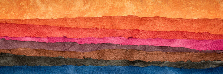 Fotobehang Koraal abstract landscape - colorful textured paper sheets