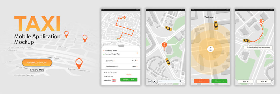 Taxi mobile application, call a car online. UI, UX, KIT App. Mobile phone application Taxi service in Flat style. GUI screens including sign In, cab booking, map navigation. Finished vector app